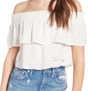 NWT Lovers + Friends Angie embroidered crop top